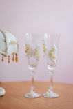 Two decor art wedding glasses Stock Photos