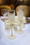Two decorated champagne glasses for wedding Stock Photo