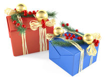 Two decorated christmas gift box isolated Royalty Free Stock Photography