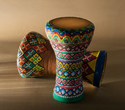 Two decorated colorful pottery goblet drums chalice drum, tarabuka, darbuka Royalty Free Stock Images