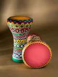 Two decorated colorful pottery goblet drums chalice drum, tarabuka, darbuka Royalty Free Stock Photography