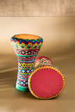 Two decorated colorful pottery goblet drums chalice drum, tarabuka, darbuka Stock Photos