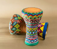 Two decorated colorful pottery goblet drums chalice drum, tarabuka, darbuka Royalty Free Stock Photos