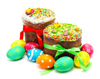 Two decorated easter cakes and eggs isolated Royalty Free Stock Photo