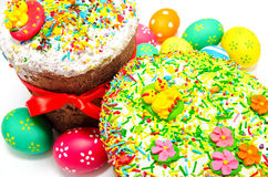 Two decorated easter cakes and eggs isolated Royalty Free Stock Image