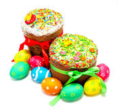 Two decorated easter cakes and eggs isolated Stock Images