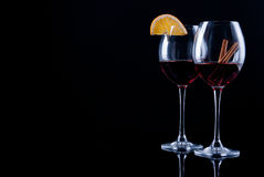 Two decorated glasses of wine Stock Image