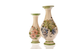 Two decorated vases isolated on white Royalty Free Stock Photography