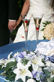 Two decorated wedding champagne glass Royalty Free Stock Photography