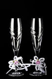 Two decorated Wedding glasses on black isolated Royalty Free Stock Image