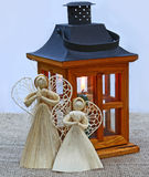Two decoration angels and lantern. Eve of advent Stock Photography