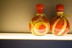 Two decorative bottles on kitchen Royalty Free Stock Photos