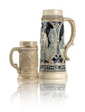 Two decorative ceramic German beer stein Royalty Free Stock Images