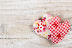 Two decorative fabric heart for Valentines day Stock Images