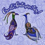 Fantastic birds 2. Two decorative fantastic birds with the inscription `Create, fantasize, try Royalty Free Stock Photography