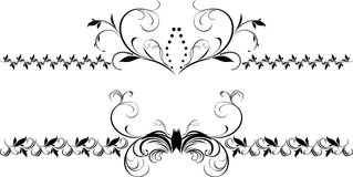Two decorative floral borders for design Stock Photography