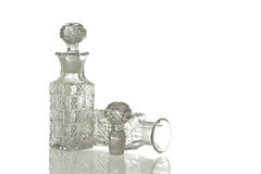 Two decorative glass carafe and plug Royalty Free Stock Image