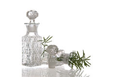Two decorative glass flasks with plugs Royalty Free Stock Photos