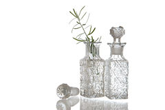 Two decorative glass oil carafe Stock Photo
