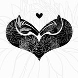 Two decorative horses' heads.Symbol of heart . Vector illustrati Stock Photo