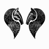 Two decorative horses' heads. Vector illustration Royalty Free Stock Images