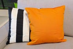 Two Decorative Pillow on A Comfortable Sofa Stock Photos