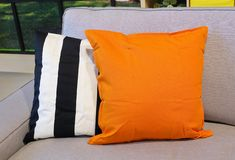Two Decorative Pillow on A Comfortable Sofa Stock Photography