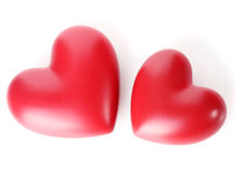 Two decorative red hearts Stock Photo