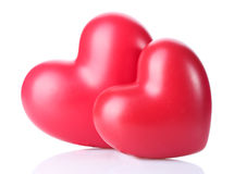 Two decorative red hearts Stock Photography
