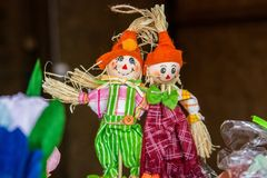 Two decorative straw stuffeds, russian folk toys Royalty Free Stock Images
