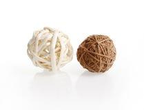 Two decorative wicker wooden balls Stock Photo