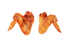 two deep fry chicken wings isolated on white Stock Photo