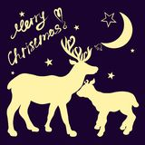 Two deer, family, Congratulations on Christmas, the moon and a b stock illustration
