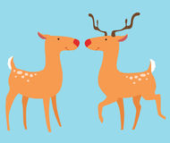 Two deer. With horns and without horns Stock Photo