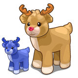 Two deer toys of different colors, blue and brown Royalty Free Stock Photos