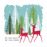 Two Deer in the Woods on a Winter night stock illustration