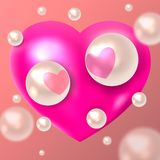 Two white pearls in love with hearts against the background of a pink heart. Valentine`s Day. Vector illustration. vector illustration