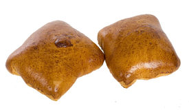 Two delicious baked buns Royalty Free Stock Photos