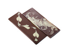 Two delicious bar of mixed chocolate with patterns Royalty Free Stock Photography