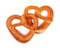 Two delicious Bavarian pretzel in heart shape Stock Photography