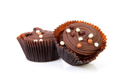 Two delicious chocolate cupcakes Stock Photography