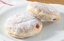 Two Delicious Donut Filled with Strawberry Jam Stock Image