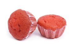 Two delicious fresh carrot muffin isolated on a white Stock Photos