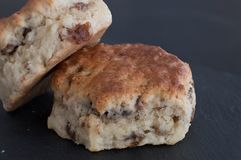 Two Delicious Fruit Scones Served on a Slate Serving Plate stock photos