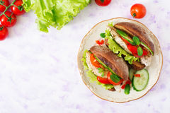 Two delicious and healthy sandwich hot dog with chicken and vegetables. Stock Photos