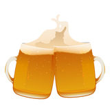 Two delicious mug of fresh cold beer Royalty Free Stock Photos