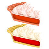 Two delicious pieces of cake with cream. Vector Stock Image