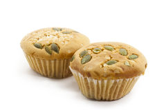 Two delicious raisin cup cakes Royalty Free Stock Image
