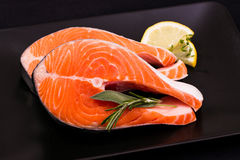 Two delicious raw salmon slice stock photography