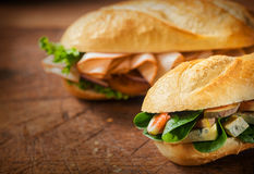 Two delicious savory rolls for a lunchtime snack Royalty Free Stock Image
